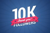 10000 followers illustration with thank you on a ribbon.