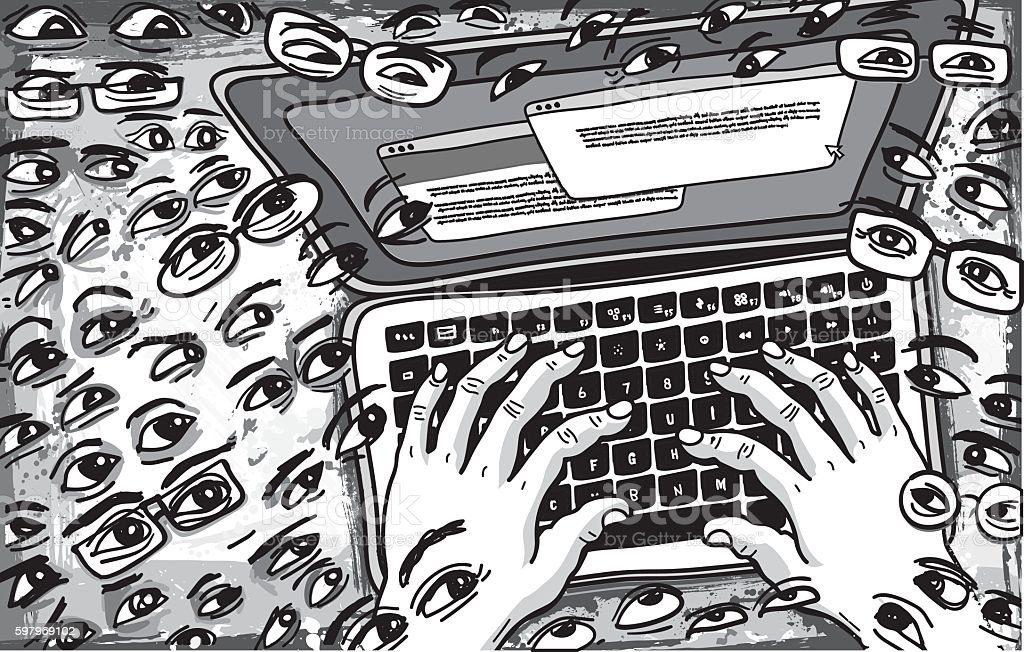 Followers Watching what is being Typed on Keyboard Illustration vector art illustration