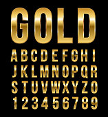 Font alphabet number gold effect vector