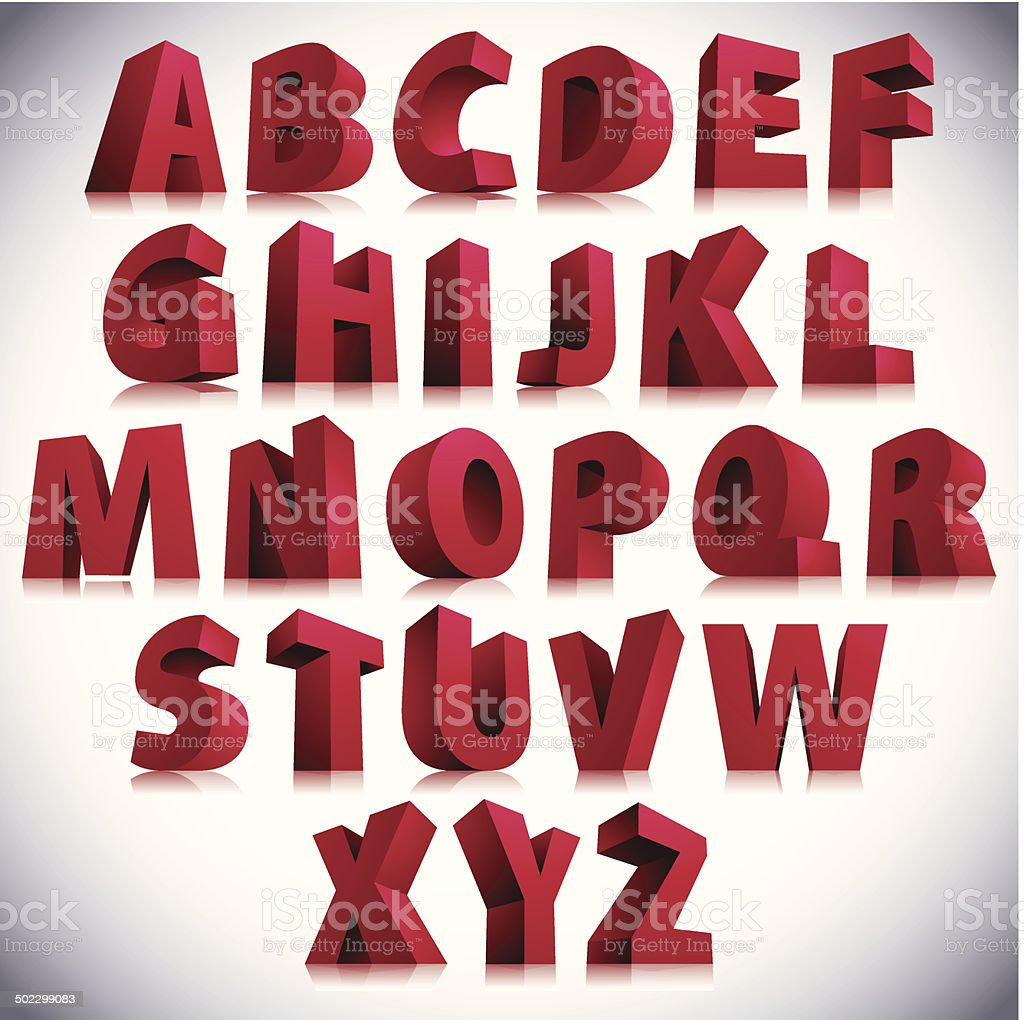 3D font, big red letters standing. vector art illustration