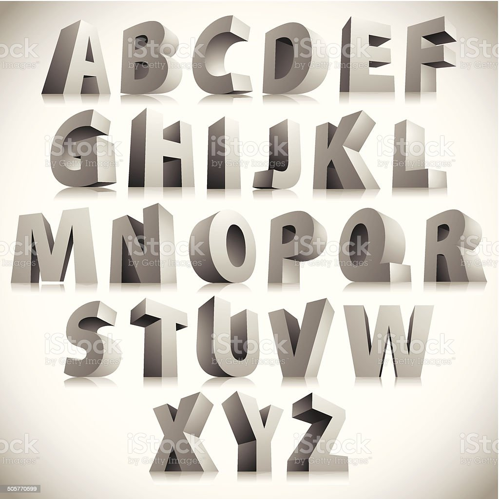 3D font, big white letters standing, vector eps 8. vector art illustration