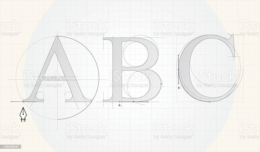 Font designing royalty-free stock vector art