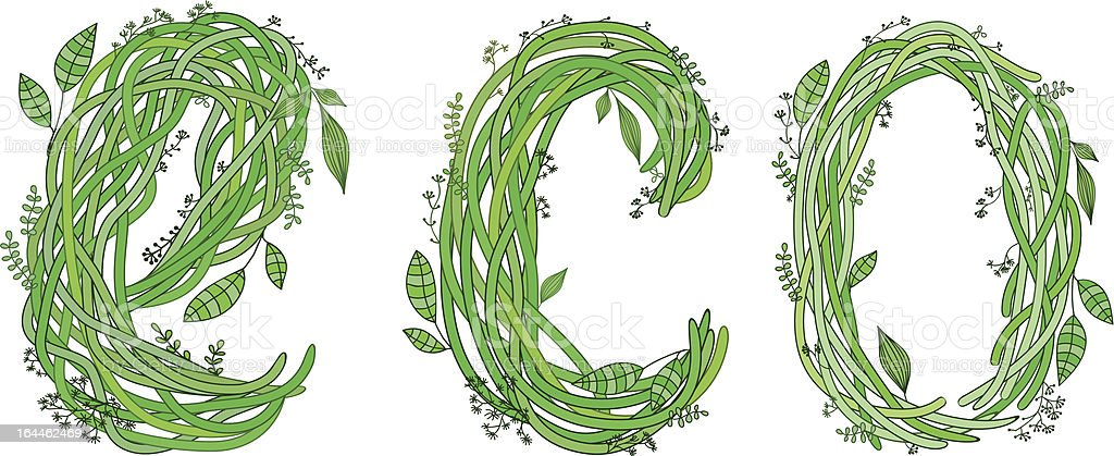 ECO font. Ecology royalty-free stock vector art