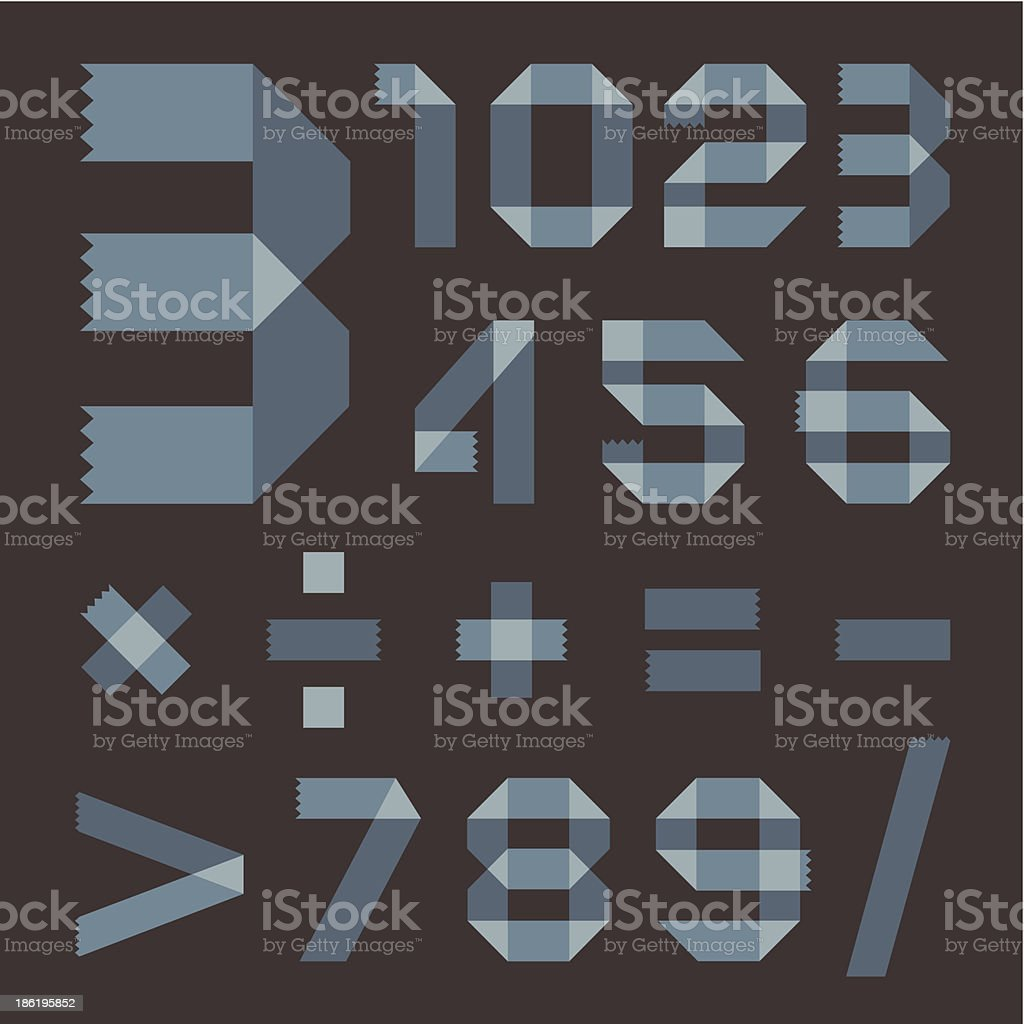 Font from bluish scotch tape - Arabic numerals royalty-free stock vector art