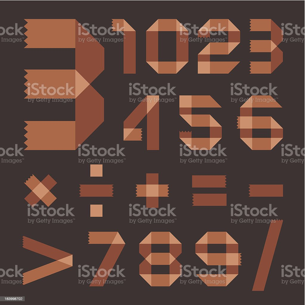 Font from brownish scotch tape - Arabic numerals royalty-free stock vector art
