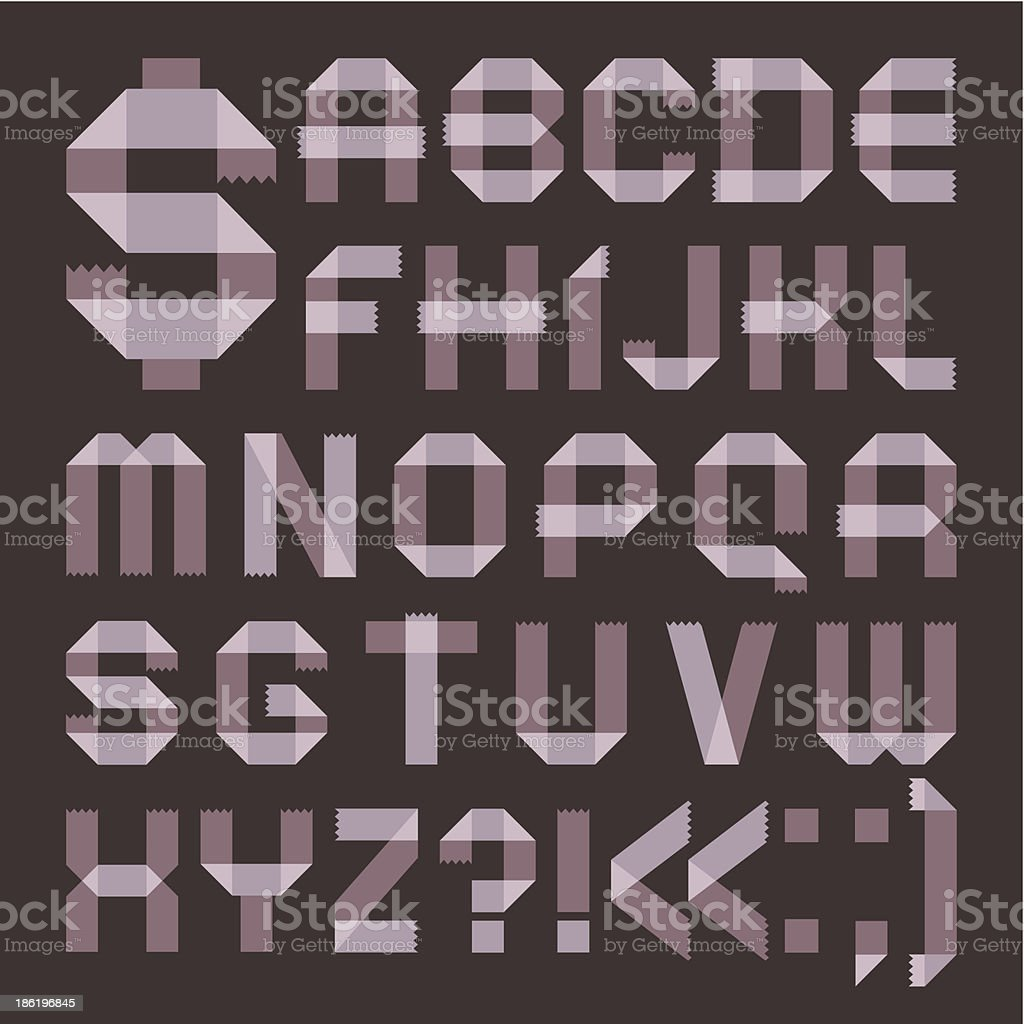 Font from lilac scotch tape -  Roman alphabet vector art illustration