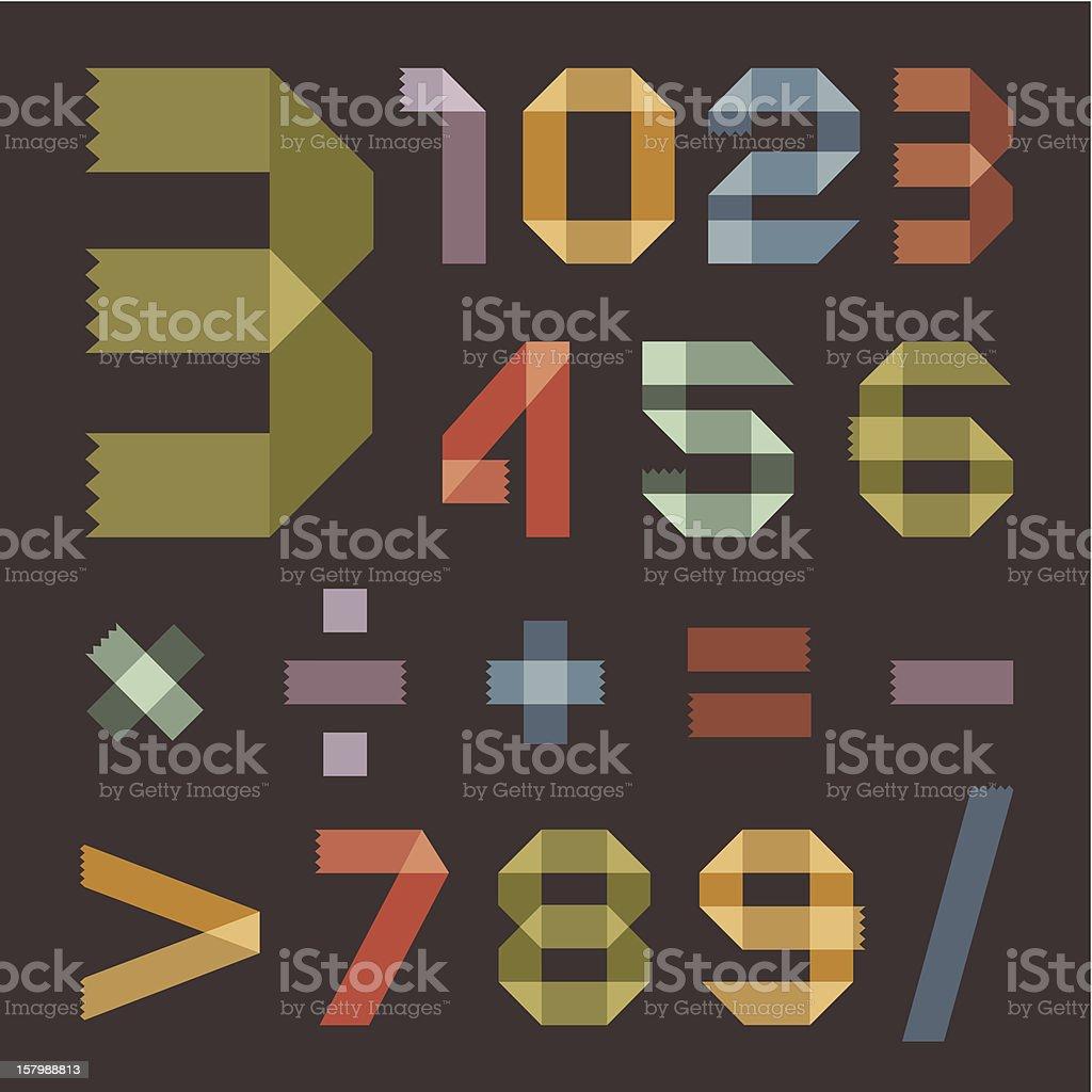 Шрифт от в ретро цвета scotch tape-арабские цифры векторная иллюстрация
