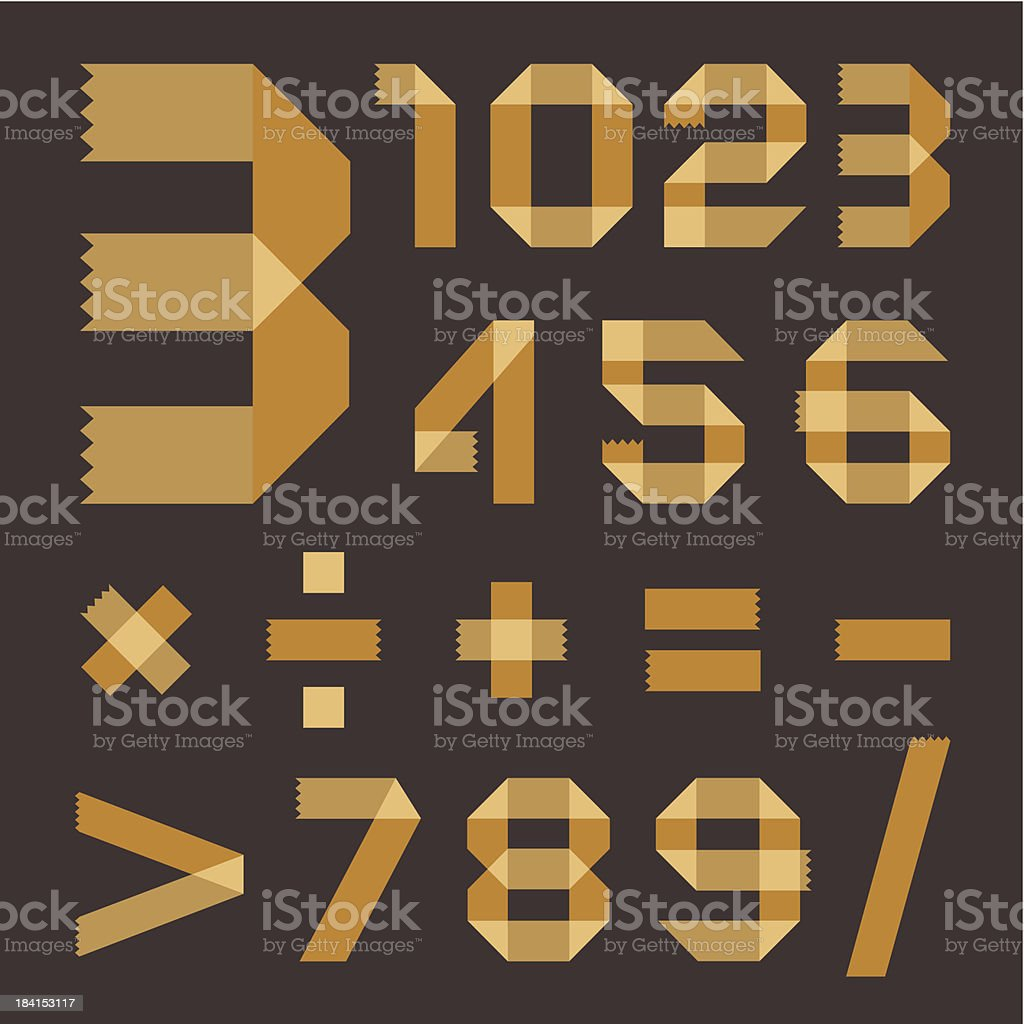 Font from yellowish scotch tape - Arabic numerals royalty-free stock vector art