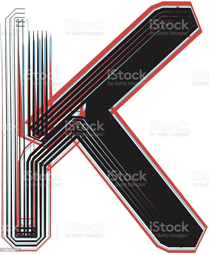 Font illustration letter K royalty-free stock vector art