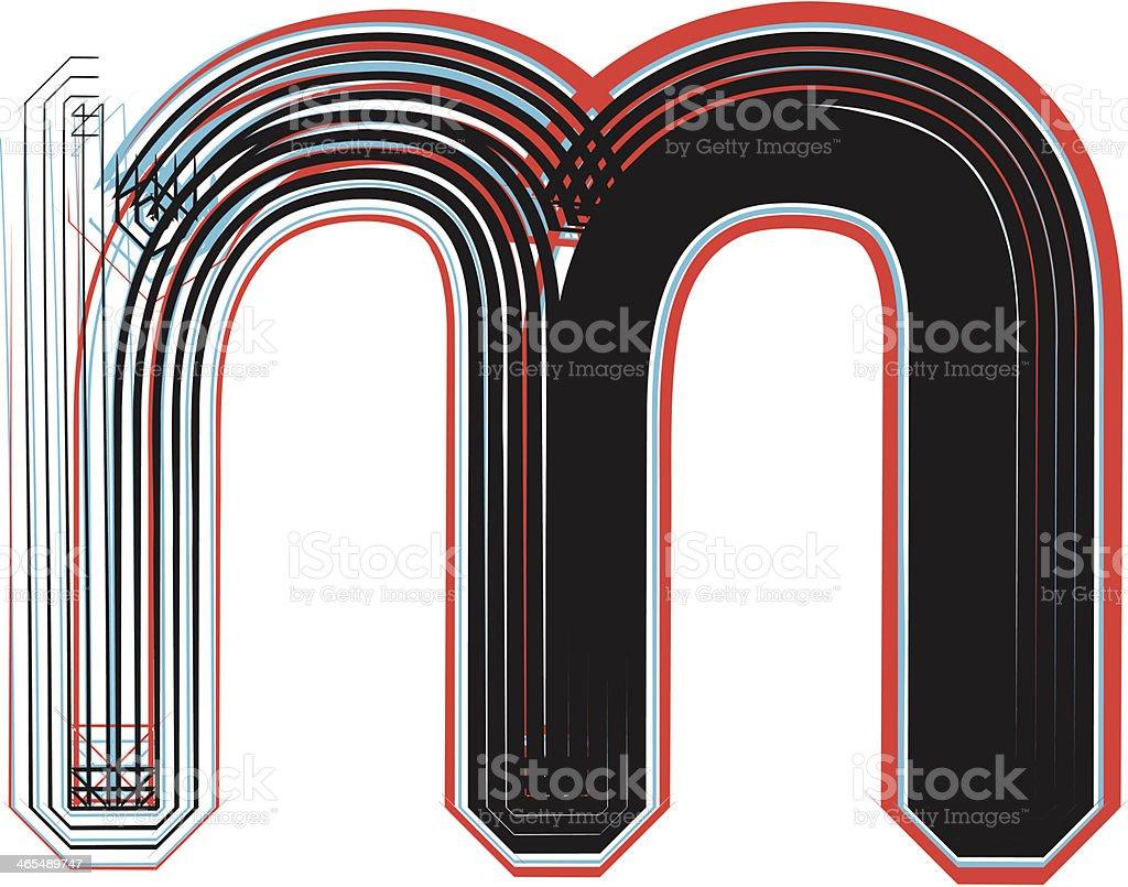 Font illustration letter m royalty-free stock vector art