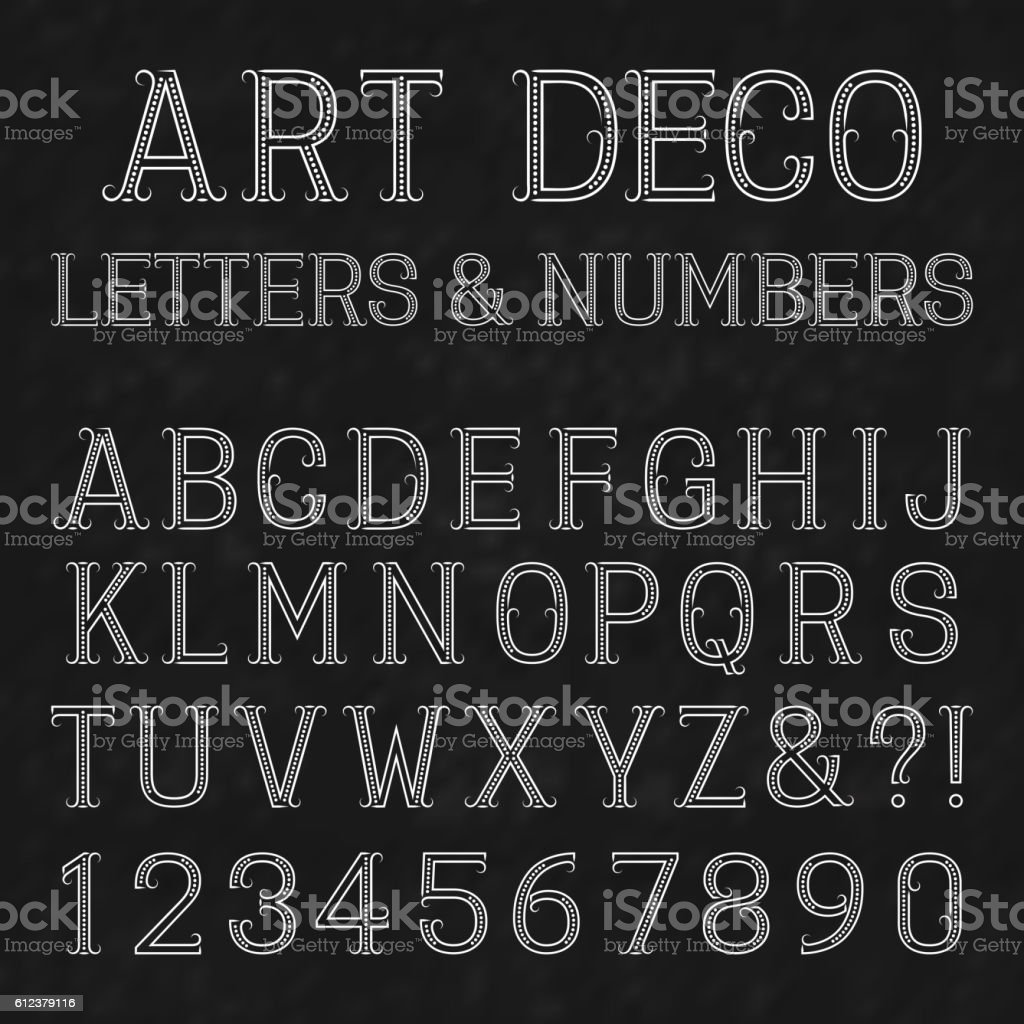 Font in art deco style. Vintage alphabet. vector art illustration