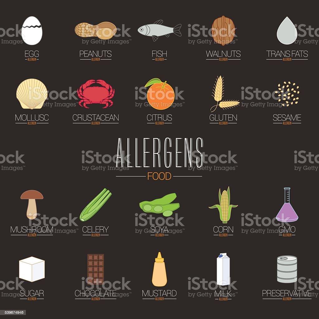 Food allergen icons vector set (gluten, lactose, GMO, nuts, etc.) vector art illustration