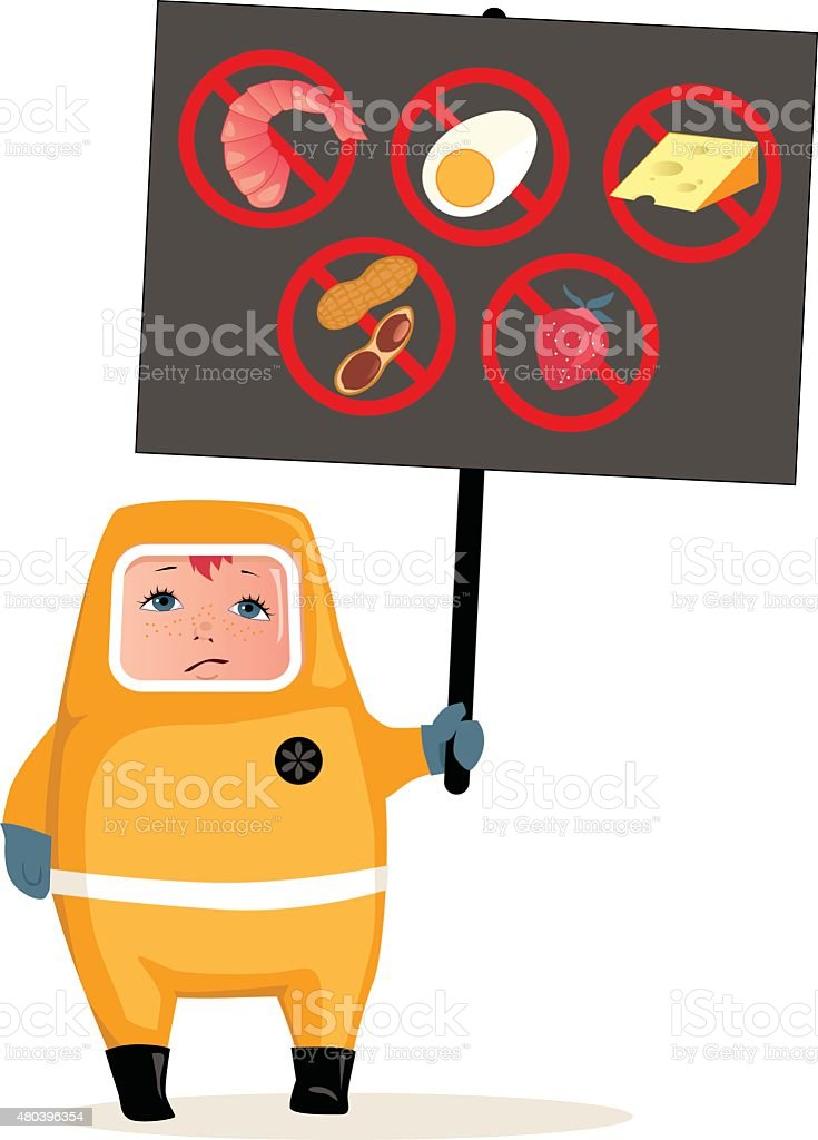 Food allergies vector art illustration