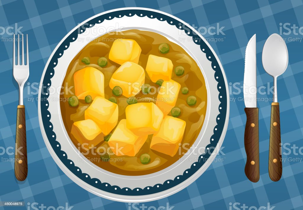 food and a dish royalty-free stock vector art