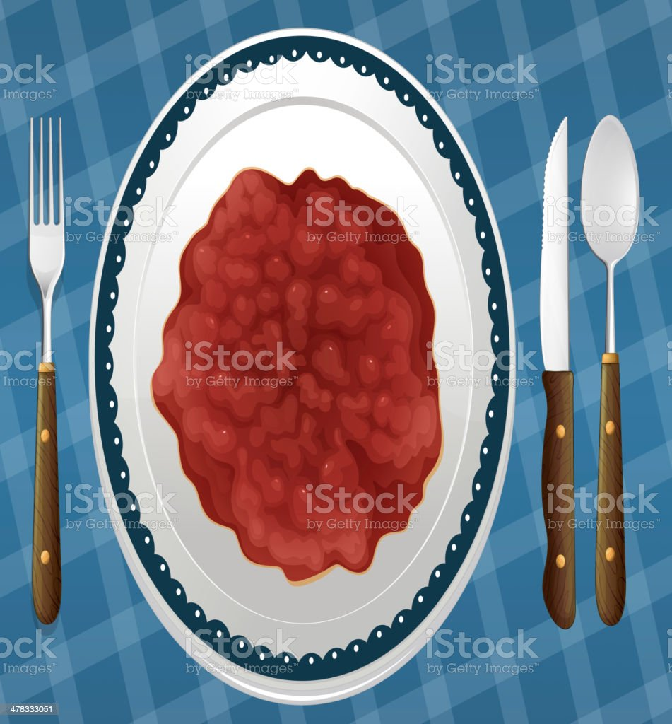 Food and a dish royalty-free stock vector art