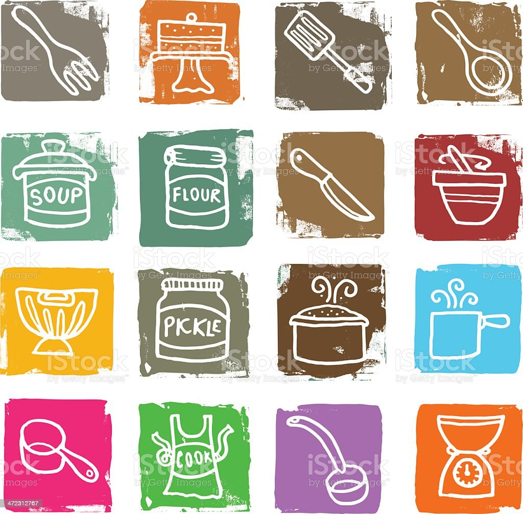Food and baking grunge block icon set vector art illustration