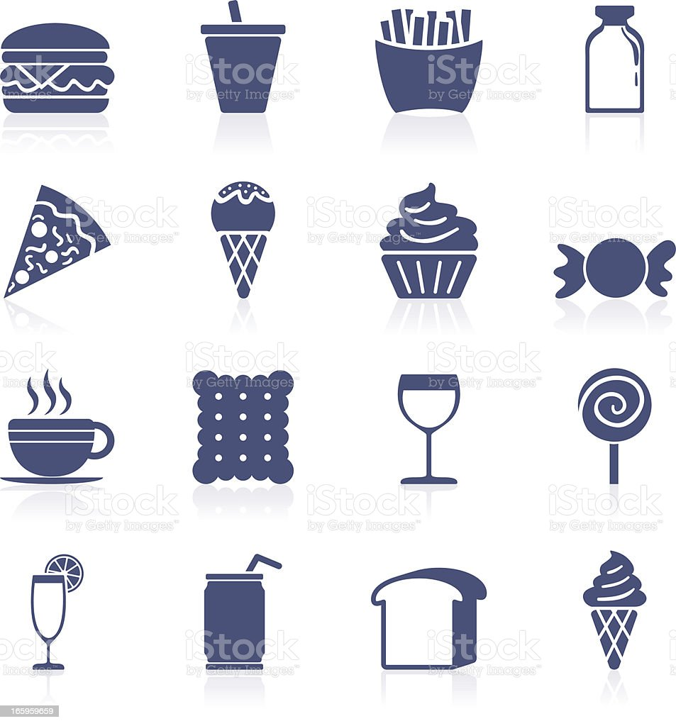 Food and beverage icon collection vector art illustration