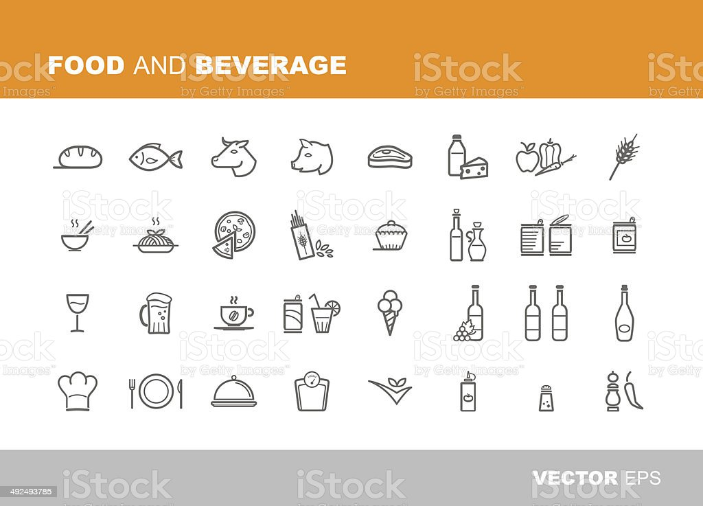 Food and beverage icons vector art illustration