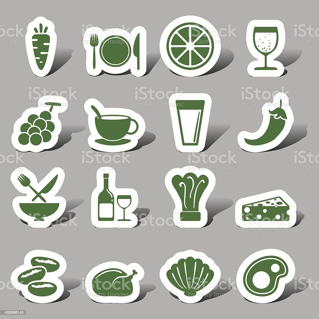 Food and beverage interface icons vector art illustration