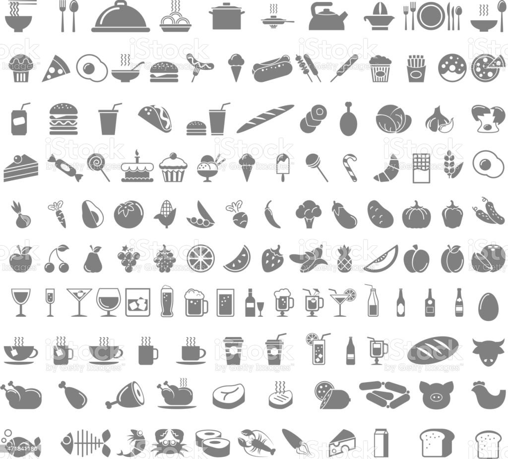 Food and beverages icons vector art illustration