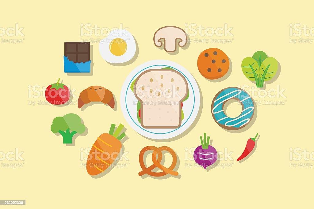Food and Breakfast Icons Flat Design vector art illustration