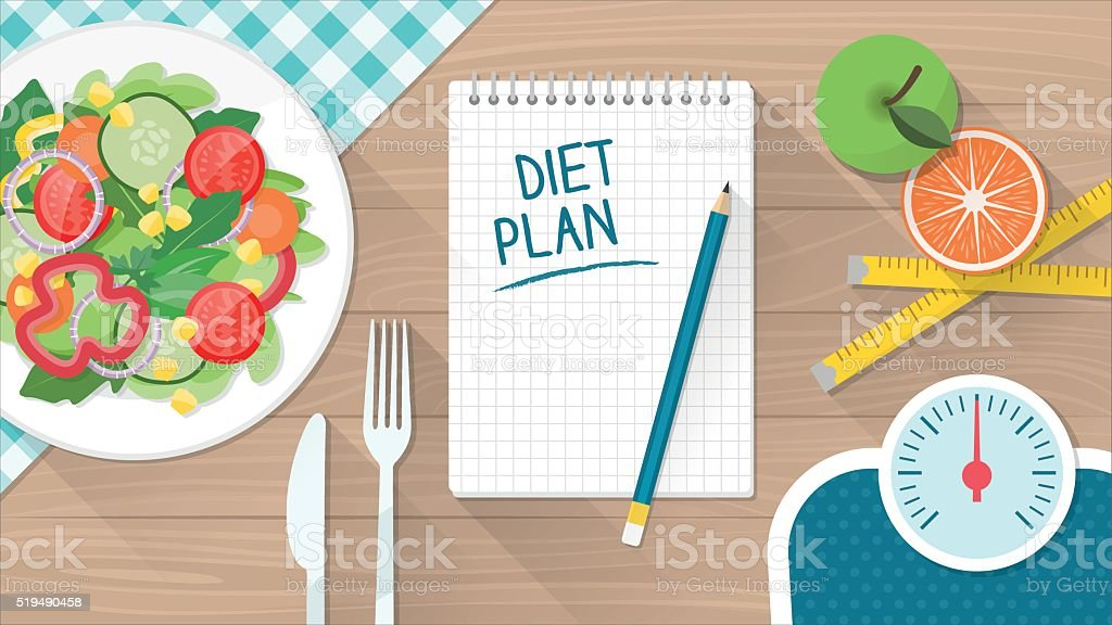 Food and diet vector art illustration