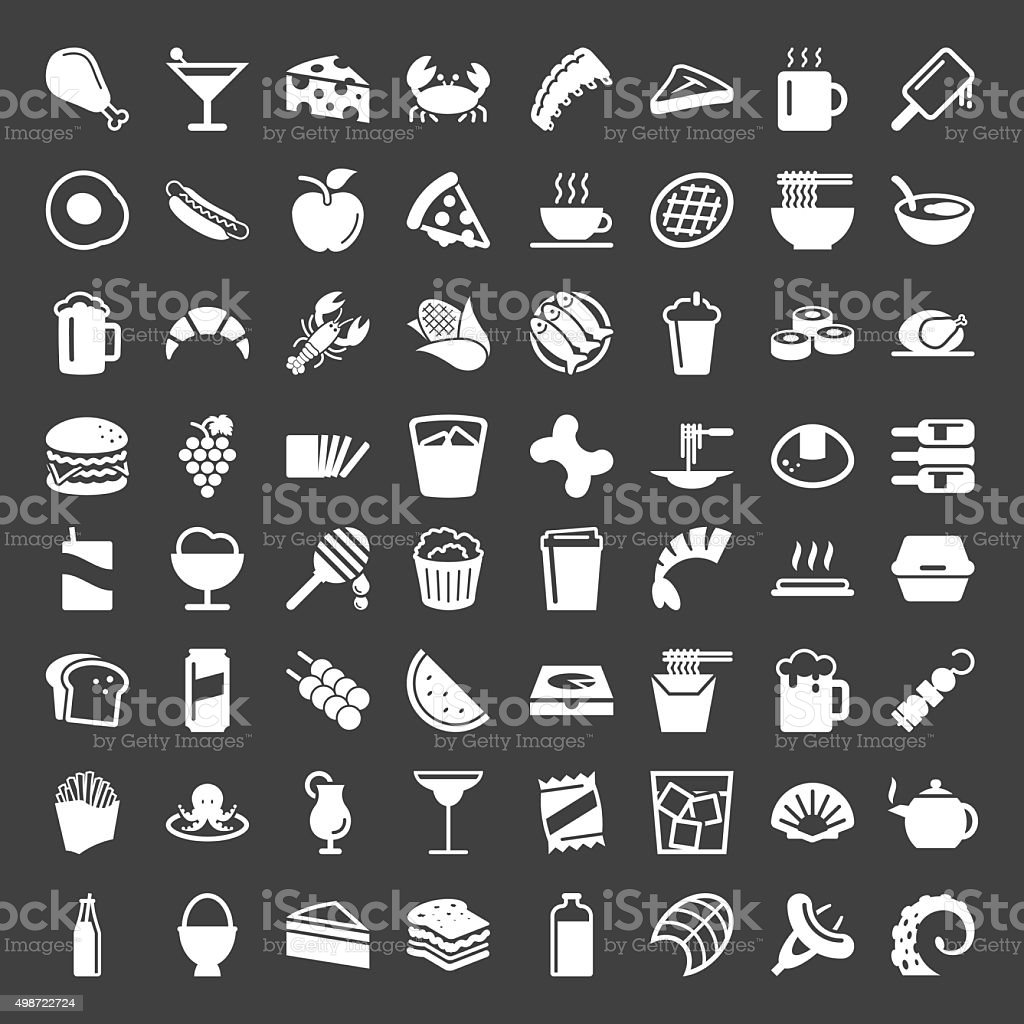 Food and Drink 64 Icons - White Series vector art illustration