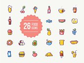 Food and drink colorful outline icons
