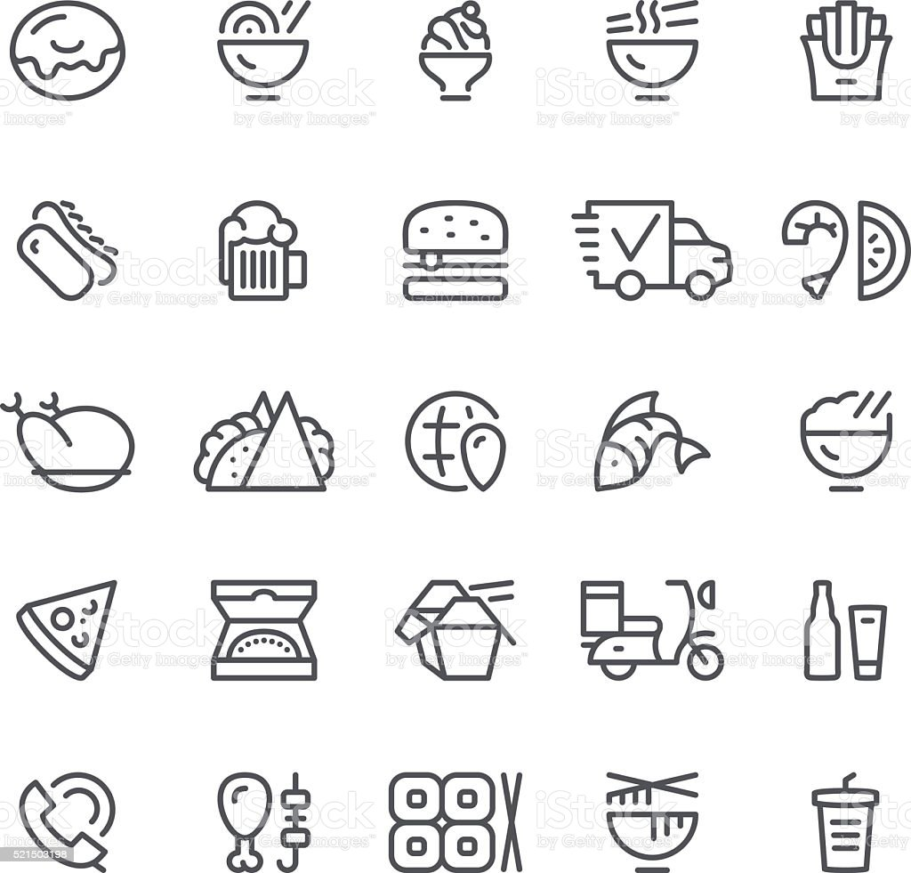 Food and Drink delivering icons vector art illustration