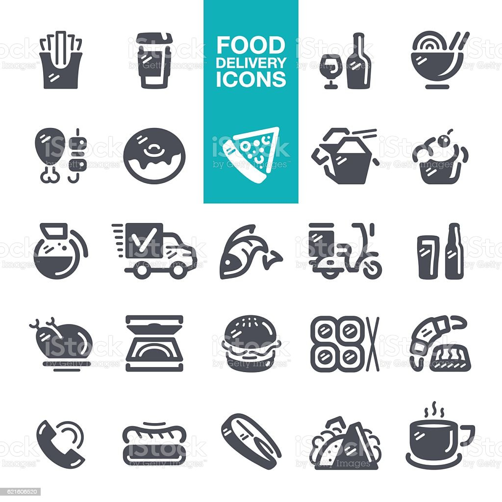 Food and Drink delivery icons vector art illustration