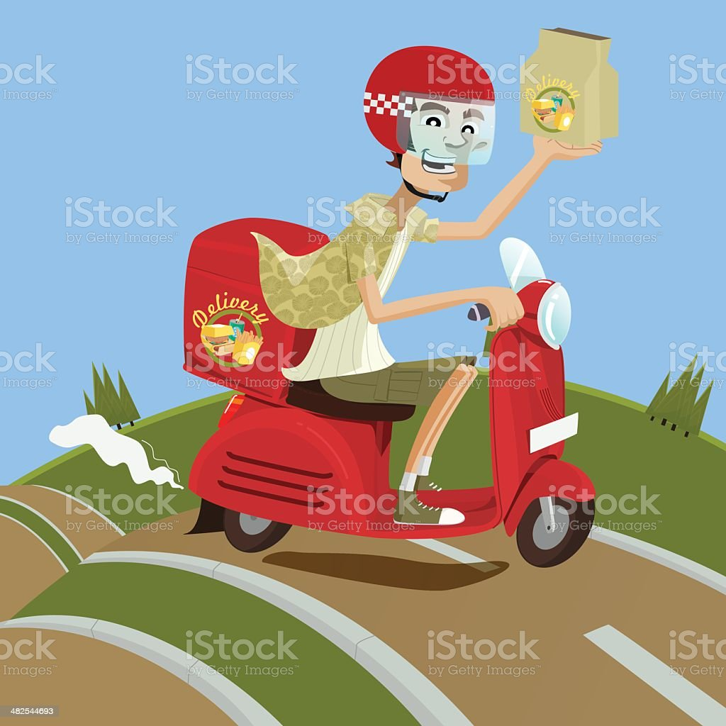 Food and drink delivery man riding red scooter vector art illustration
