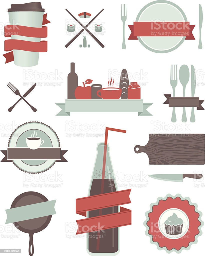 Food and Drink Design Elements vector art illustration