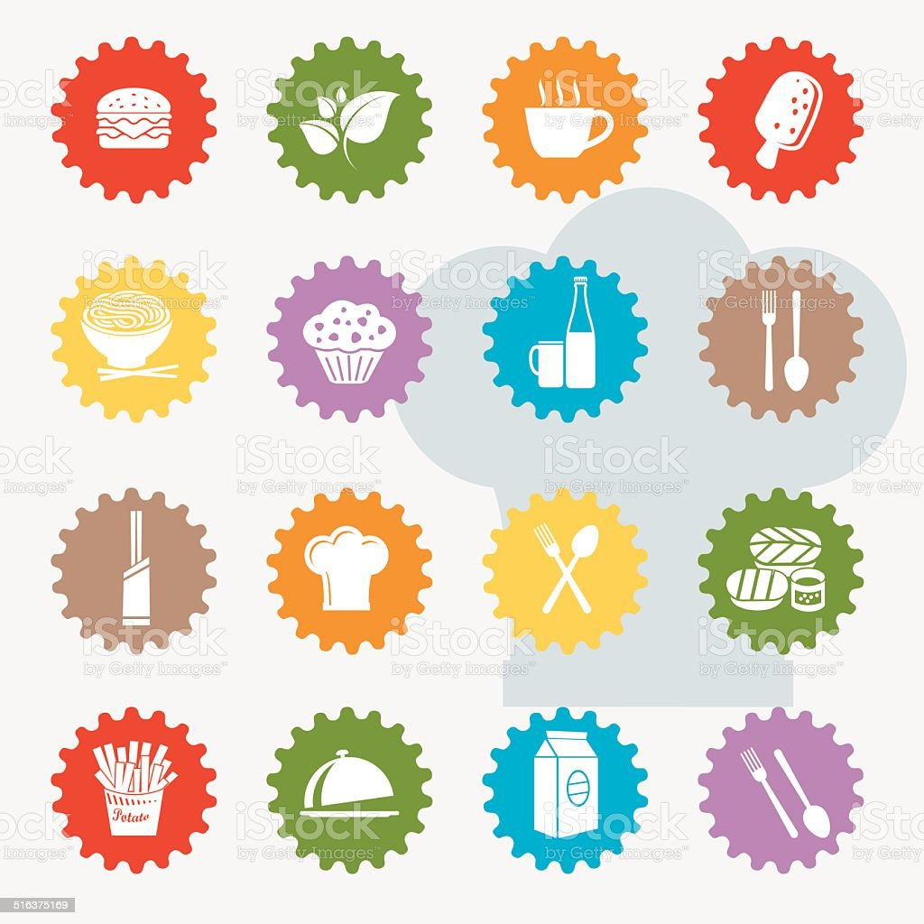 Food and drink icon set,colour version,clean vector vector art illustration