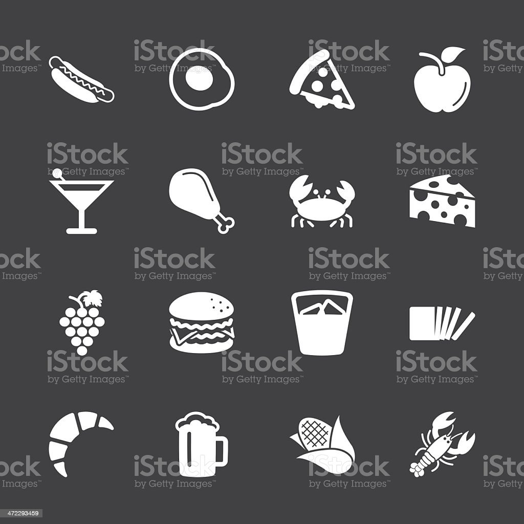 Food and Drink Icons 1 - White Series | EPS10 vector art illustration