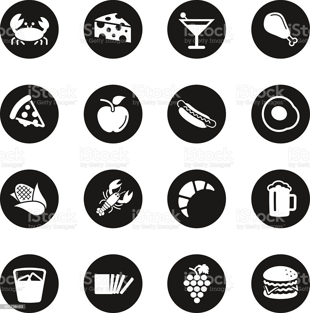 Food and Drink Icons Set 1 - Black Circle Series vector art illustration
