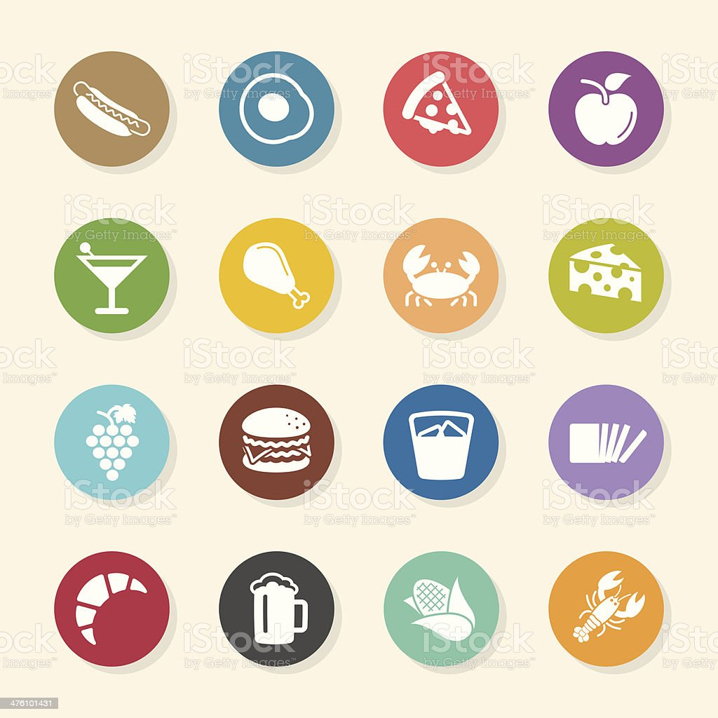 Food and Drink Icons Set 1 - Color Circle Series vector art illustration
