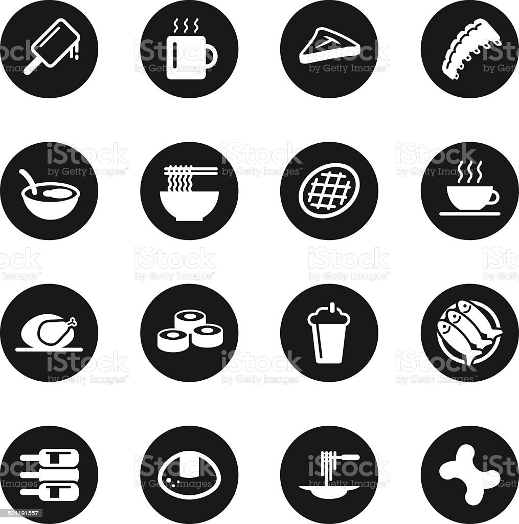 Food and Drink Icons Set 2 - Black Circle Series vector art illustration