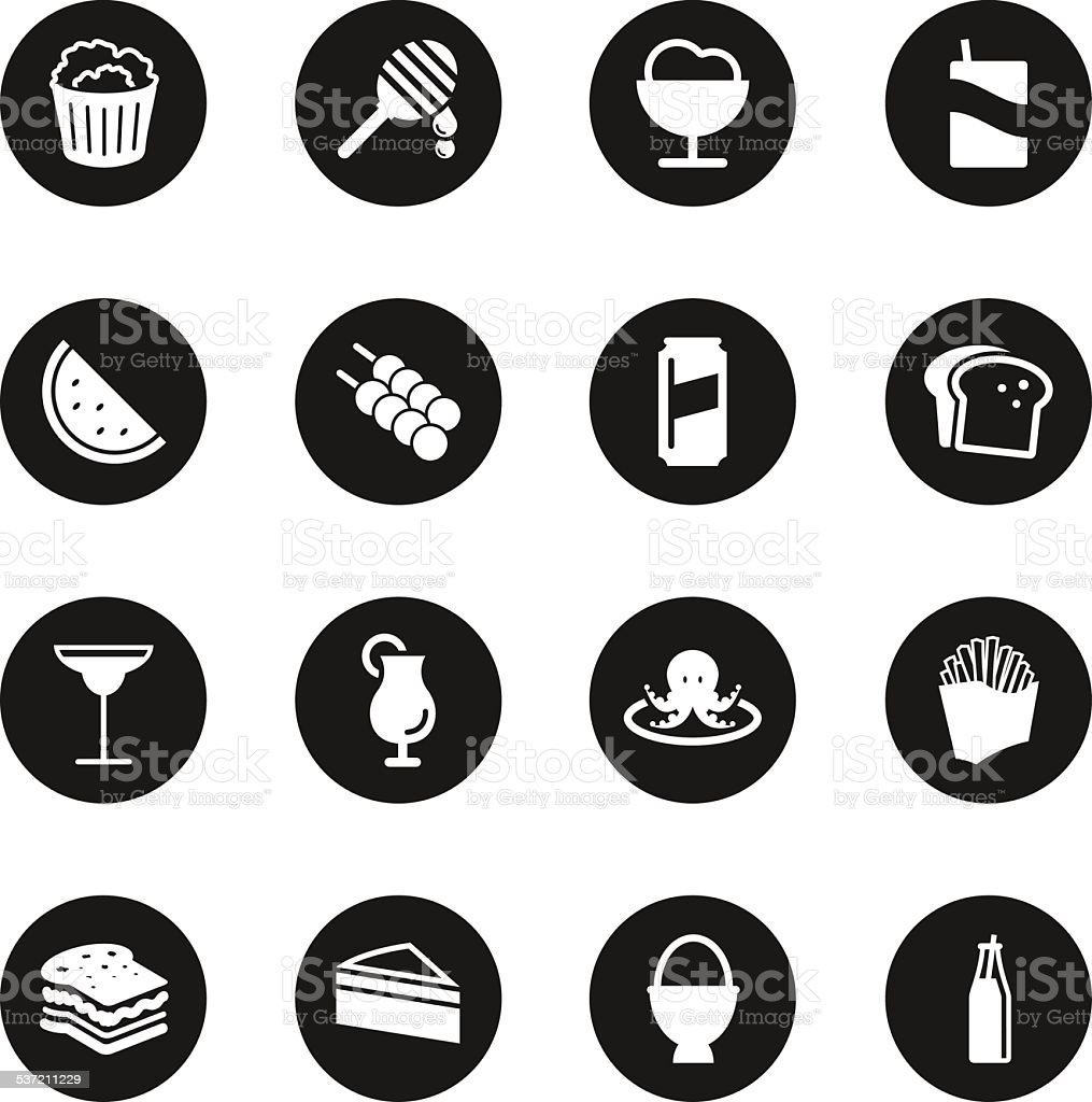 Food and Drink Icons Set 3 - Black Circle Series vector art illustration