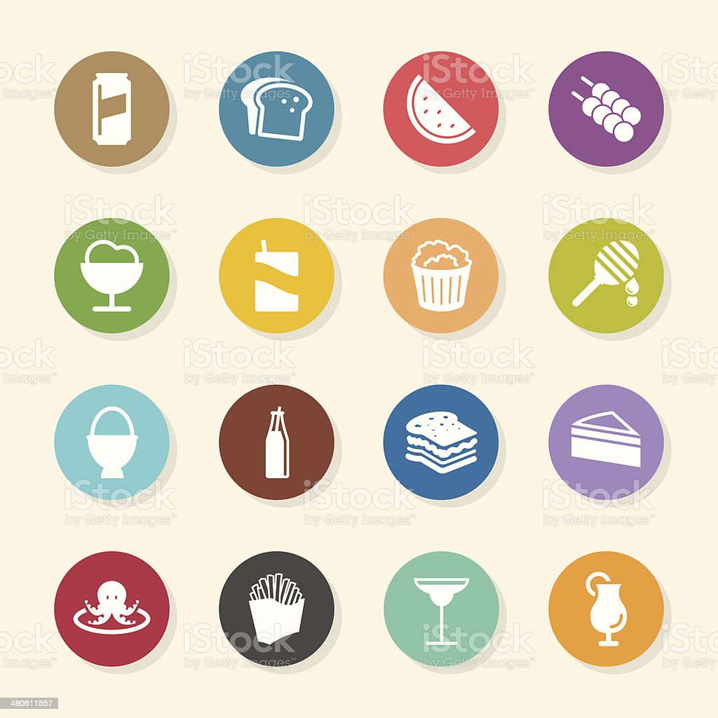 Food and Drink Icons Set 3 - Color Circle Series vector art illustration