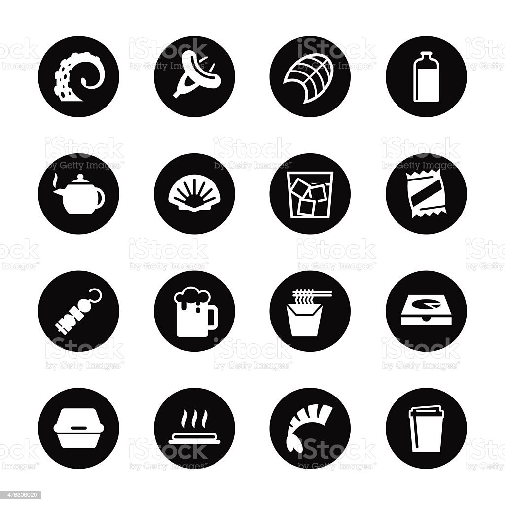 Food and Drink Icons Set 4 - Black Circle Series vector art illustration