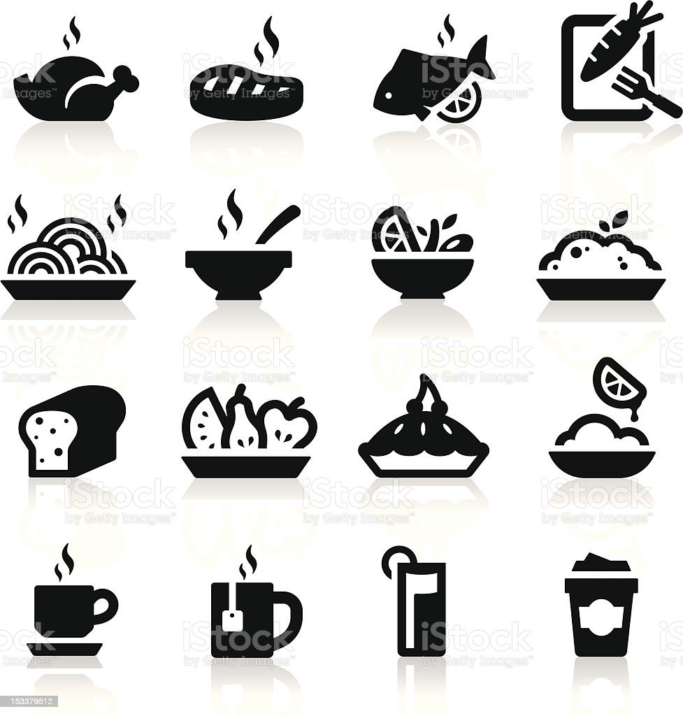 Food and Drink icons set Elegant series vector art illustration