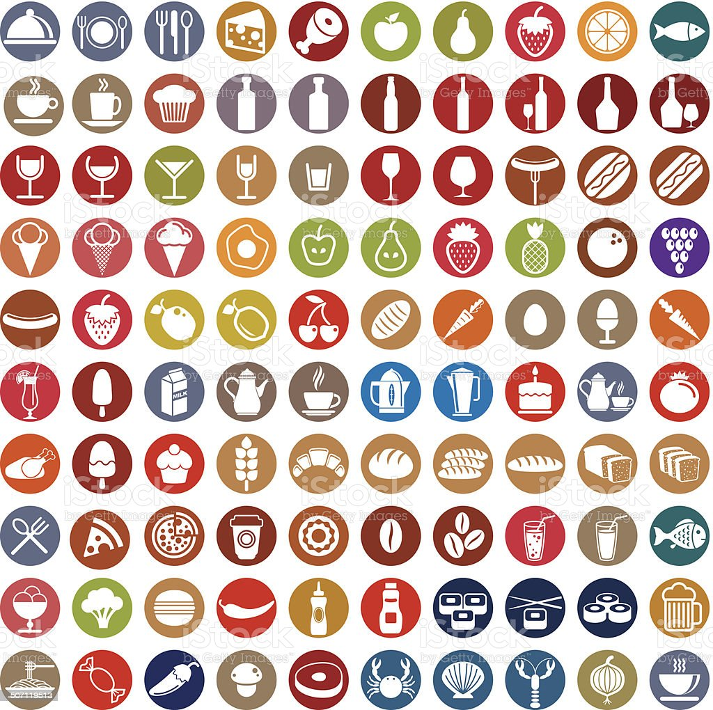 100 food and drink icons set. vector art illustration