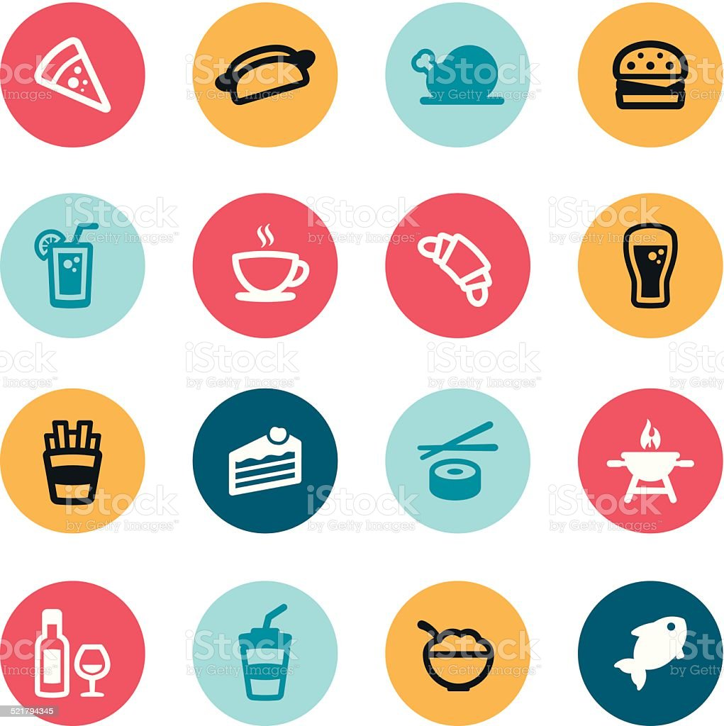 Food and Drink Icons vector art illustration