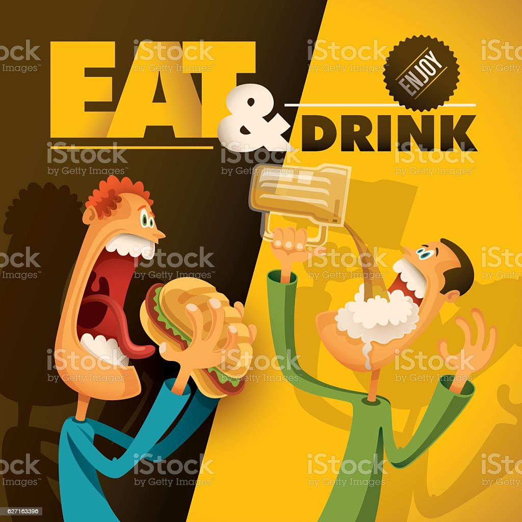 Food and drink illustration with comic guys. vector art illustration