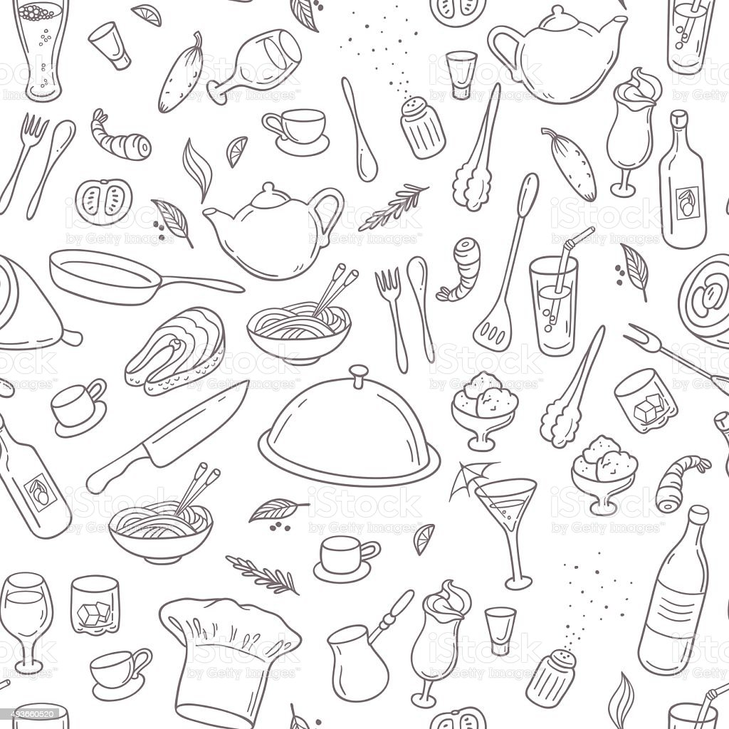 Food and drink outline seamless pattern. Hand drawn kitchen background vector art illustration