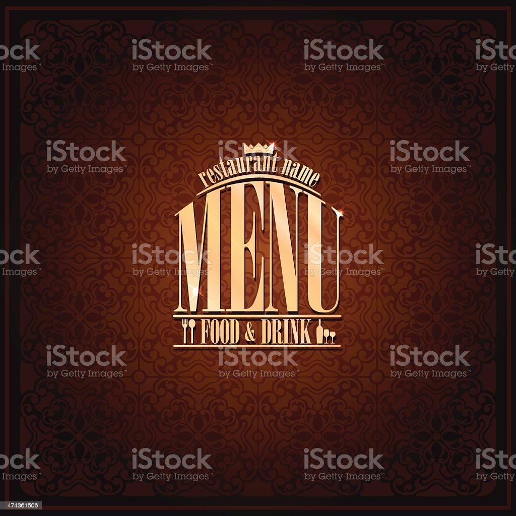 Food and drink Restaurant Menu , vintage card brown vector art illustration