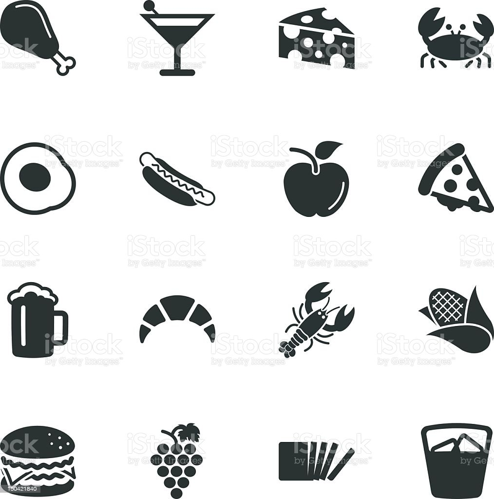 Food and Drink Silhouette Icons | Set 1 vector art illustration
