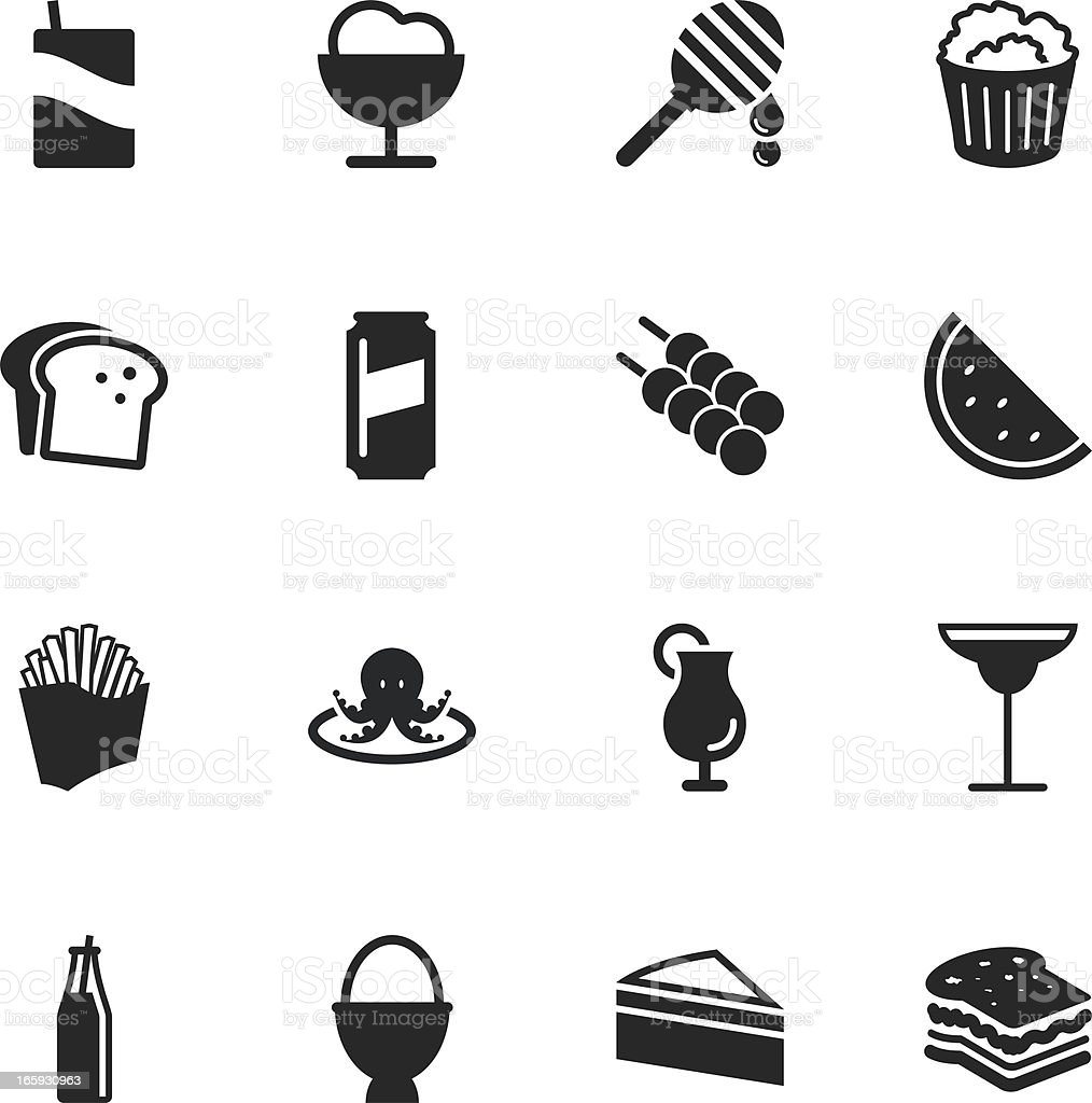 Food and Drink Silhouette Icons | Set 3 vector art illustration