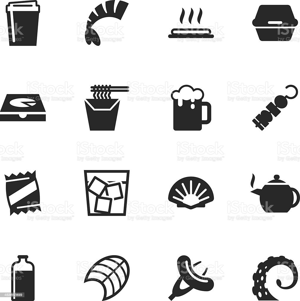 Food and Drink Silhouette Icons | Set 4 vector art illustration