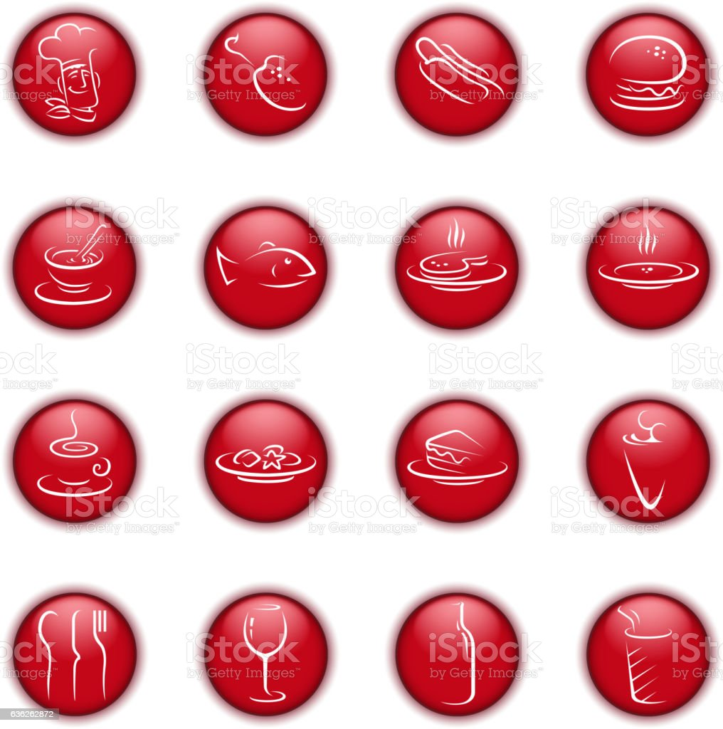 food and drink symbols vector art illustration